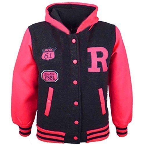 A2Z 4 Kids Kinder Mädchen Jungen R Mode NYC FOX Baseball Jacke Mit Kapuze Uni Kapuzenpulli Alter 2-13 Jahre