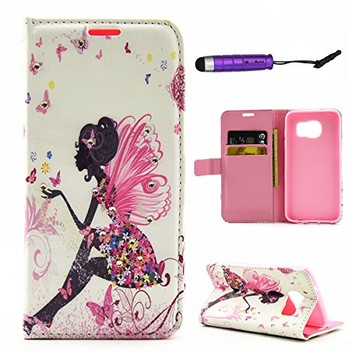 Flip Cover per Samsung Galaxy S7 Edge Glitter Portafoglio, Moonmini® Custodia PU Pelle con 3D Bling, Stand, Slot & Chiusura Magnetica - Style 5 Black Fairy Girl Pink Butterfly Flower