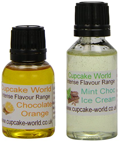 Mint Choc Ice Cream and Chocolate Orange Intense Food Flavours (Two 28.5 ml bottles)