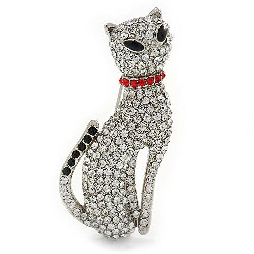 Spilla a forma di gatto con pavé di cristalli, placcati in rodio, lunghezza 50 mm