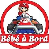 Stickersnews - Stickers Bébé à bord Mario 16x16cm réf 15141