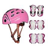 SymbolLife Kinder Helm Marienkäfer mit Protektoren Set, Knie Elbow Handgelenk Pad Set für Skateboard Fahrrad BMX MTB... Größe M, Pink Helm