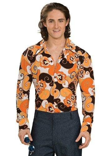 Rubie 's Offizielles Groovy Shirt 1960er Disco Orange, Erwachsene Kostüm–Standard Größe (Groovy Disco Hemd Für Erwachsene Kostüme)