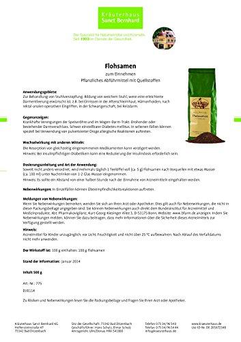 Sanct Bernhard Flohsamen zum Einnehmen, pflanzliches Abführmittel mit Quellstoffen, 500 g