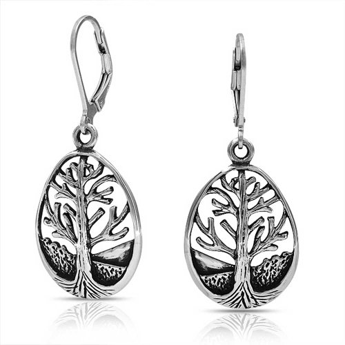 Bling Jewelry Sterling Silver Tear Drop Tree of Life Leverback orecchini