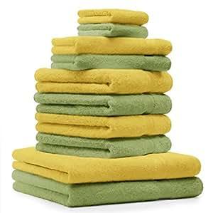 10 tlg. Handtuch Set Premium Farbe Gelb & Apfel Grün 100% Baumwolle 2 Duschtücher 4 Handtücher 2 Gästetücher 2 Waschhandschuhe