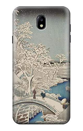 Innovedesire Utagawa Hiroshige Drum Bridge Yuhi Hill in Meguro Hülle Schutzhülle Taschen für Samsung Galaxy J7 (2018), J7 Aero, J7 Top, J7 Aura, J7 Crown, J7 Refine, J7 Eon, J7 V 2nd Gen, J7 Star -