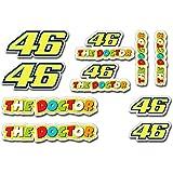 Design&Style - Juego de 10 adhesivos pequeños para coche, moto, casco, etc., diseño de Valentino Rossi con el número 46