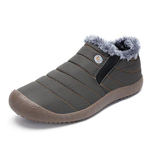 SAGUARO Herren Damen Winterschuhe Warm Gefütterte Boots Stiefelette Outdoor Waterproof Schneestiefel,Low top grau,40 EU