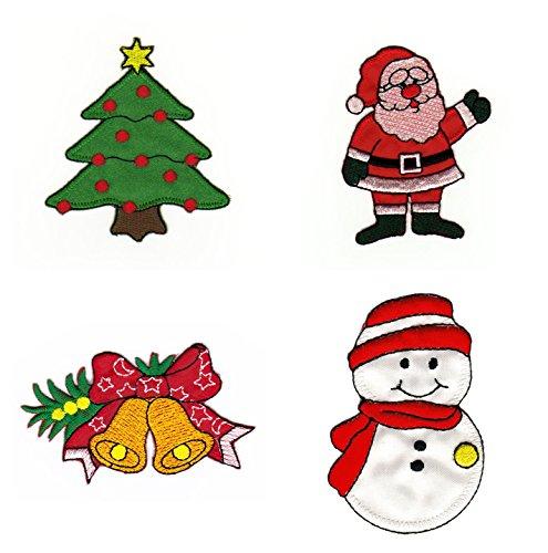Weihnachten Aufnäher Set 4 Stück Bügelbild Patch (Kleidung, Die Loch-patch)
