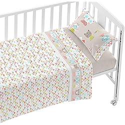 Burrito Blanco Juego de Sábanas Infantiles 006 para Cuna de 70x140 cm de Bebé Algodón 100% Diseño de Animales y Triángulos, Beige