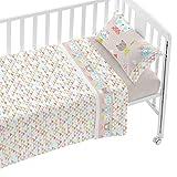 Burrito Blanco Juego de Sábanas Infantiles 006 para Cuna de 60x120 cm de Bebé Algodón 100% Diseño de Animales y Triángulos, Beige