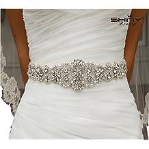 dc5c07d8c Cinturón con adorno de estrás de ShinyBeauty para el vestido de novia