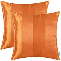 [Patrocinado]CaliTime Pack de 2 Fundas de Cojines Fundas de Fundas para Almohadas para sofá de Mesa Decoración para el hogar, Moderno a Rayas, 50cm x 50cm, Naranja