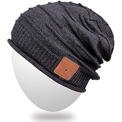 Mydeal unisex adulta de moda casquillo caliente suave de Bluetooth Gorro Beanie sombrero corto de audio inalámbricos de música con auriculares auriculares del Mic del altavoz manos libres, regalo de Navidad para el invierno deporte al aire libre del esquí de la snowboard - Negro
