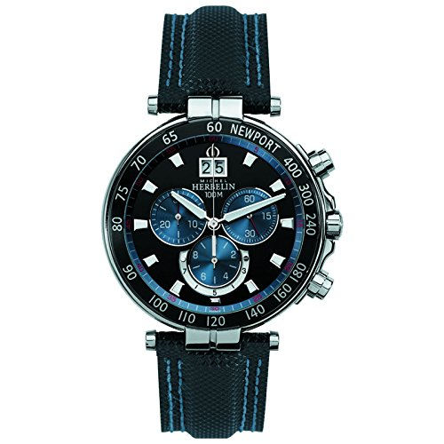 Michel Herbelin Newport Herren Chronograph blau/silber/schwarz 36655/AN65