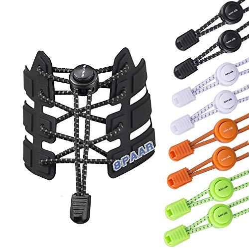 Anoak Elastische Schnürsenkel 8 paars Schnellschnürsystem Reflektierende Schnürsenke 4 farben für Kinder und Erwachsen,für Laufen, Workout, Wandern, Sport(Schwarz,weiß,grün,orange) -