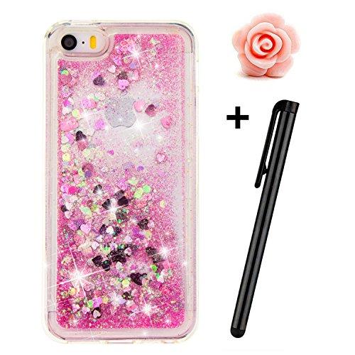 TOYYM - Cover per iPhone SE/5S/5, trasparente, glitter, bollicine galleggianti, cuori dellamore e stelline 3D mobili, in TPU Pink Love Hearts
