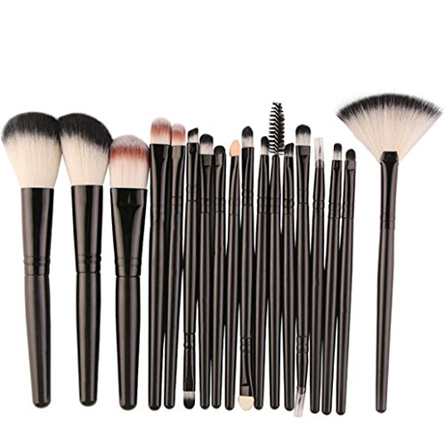 el Xinan 18 Stk Makeup Pinsel Set Tools Make-up WC Kit Wolle Make up Pinsel Set Künstlerpinsel (❤️, Schwarz) (Smokey Eye Halloween)