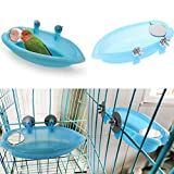 Bird Bath with Mirror Toy for Pet Small Medium Parrot Budgie Parakeet Cockatiel Conure Lovebird Finch Canary African Grey Cockatoo Amazon Cage Shower Bathing Tub Food Feeder Bowl
