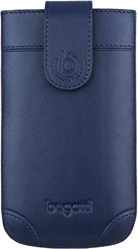 bugatti London Echtledertasche für Samsung Galaxy SII, Microsoft Lumia 430, Huawei Y300, uvm. - Blau [Größe: SL   Handarbeit   Einfache Entnahme   Gürtelschlaufe   Magnetverschluss] - 08276