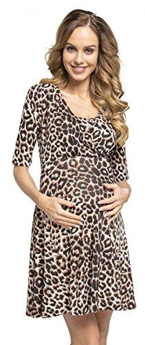 HAPPY MAMA Happy Mama.para Mujer Mini Vestido Premamá y de Lactancia Doble Capa 601p (Leopardo De Brown, EU 36, S)