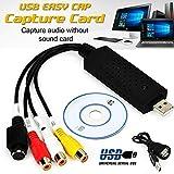 Amyove Adaptador de Tarjeta de Captura de convertidor de DVD VHS a PC DVD Audio USB 2.0