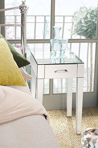 My-Furniture - ZOE - Comodino/tavolino per camera da letto a specchio con singolo cassetto