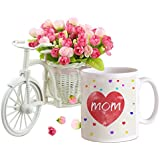 Tied Ribbons Gift For Mother | Gift For Mothers Day | Mothers Day Gifts From Daughter | Mothers Day Special Gifts | Cycle Vase With Artificial Flowers And Coffee Mug(325 Ml)