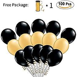 Globos 100 Piezas color Negro y Oro - Disponible en otros colores
