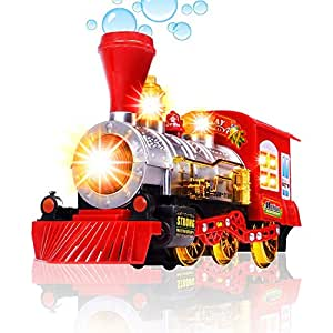 Myric Bubble Toy Train for Kids Battery Operated Bump & go steam Train Engine with Sound and Light