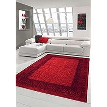 Designer Teppich Moderner Wohnzimmer Velours Kurzflor Mit Winchester Bordre In Rot Grsse 200
