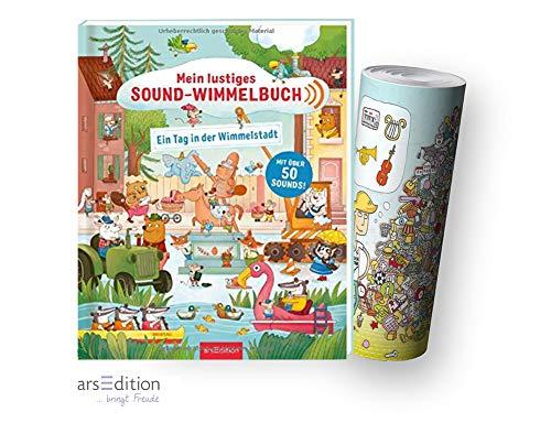 Ars Edition Mein lustiges Sound-Wimmelbuch - EIN Tag in der Wimmelstadt (Gebundenes Buch) + Musik Instrumente Wimmel-Poster