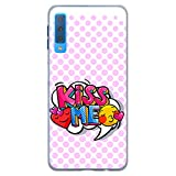 BJJ SHOP Transparent Hülle für [ Samsung Galaxy A7 2018 ], Klar Flexible Silikonhülle, Design: Emoticons mit pink Hintergrund, kiss me