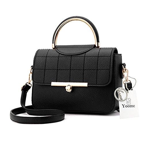 Yoome Lichee Pattern Tote Purses Für Frauen Elegant Taschen Mini Handtaschen Für Mädchen Bag Charm - Schwarz