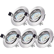 5 x Foco Empotrable Led Gu10 Gr4tec Luz de Techo 4W equivalente a Halogeno 35W Incluye Bombilla GU10 Blanco Cálido 2800k 400Lm Ojos de Buey Marco Redondo ...