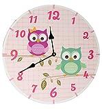 Wanduhr aus Holz -  lustige Eulen  - 34 cm groß - sehr leise ! - Uhr - Analog - Kinderzimmer & Wohnzimmer - Eulenmotiv - für Jungen Mädchen Kinder - Eule - ..