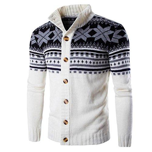 amlaiworld uomo maglia maglione, colori misti cappotto maglione stile nazionale (m, bianco)