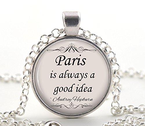 Audrey Hepburn Zitat Halskette, Silber Paris Zitat Anhänger, Einzigartiges Hollywood Movie Star Schmuck Geschenkideen für Sie