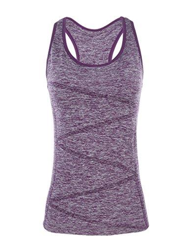 Disbest Sport Weste, Top Sleeveless Tee T-Shirt Nahtlos Tech Tank Dehnbar Athleisure Frauen Yoga Top Camisole für Running Gym Workout mit Unterstützung BH, Violett, S