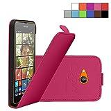 COOVY Custodia per Nokia Lumia 630/635 Slim Flip Cover Case della Copertura di Vibrazione Protezione, Pellicola Protettiva per Schermo | Colore Rosa Caldo