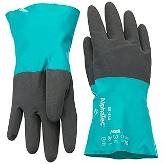 Ansell AlphaTec 58-430 Nitril Handschuhe, Chemikalien- und Flüssigkeitsschutz, Grün, Größe 10 (12 Paar pro Beutel)