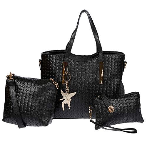 Kossberg Damen Handtaschen Set Schultertasche schwarz 3 pcs Set Bag