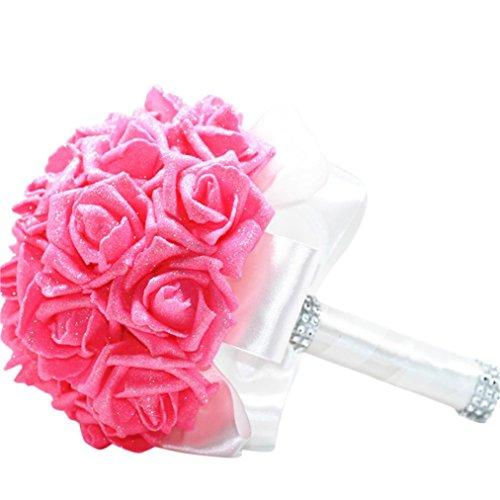 Brautstrauß der Braut,Transwen Kristall Rosen Perle Brautjungfer Hochzeit Bouquet Bridal Künstliche Seidenblumen Dekor Kunstblumen Blume Dekoration Blumenstrauß Blumenarrangement (Rosa)
