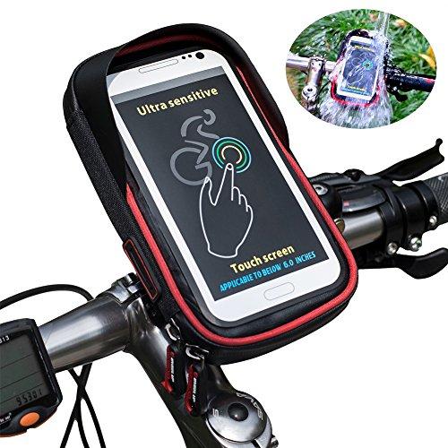 Cyclisme Vélo Support de Téléphone Sac, Wheel Up Étanche Haut Tube Guidon Vélo Sac Titulaire Poche pour Smartphone GPS avec 6 Pouces Transparent Poche Décapotable, Profession Pare-Soleil, Rotation 360 Degrés et Sac De Rangement Intérieur