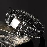 Jiayiqi Männer Synthese Leder Armband Verstellbare Schnalle Handgelenk Band Legierung Wrap Handgelenk - 4