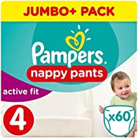 Pampers Active Fit Taille 4 Jumbo + Lot 60 couches Pantalon