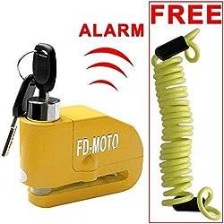 FD-MOTO LK603 Antivol Moto Alarme Moto Bloque Disque Son d'Alarme 110db pour Moto/Vélo/Scooter avec Câble de Rappel Gratuit, Jaune, 1.5M