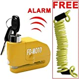 FD-MOTO LK603 Yellow Motorbike Alarm Disc Lock Motorcycle Bike Bicycle 110DB 7mm pin+