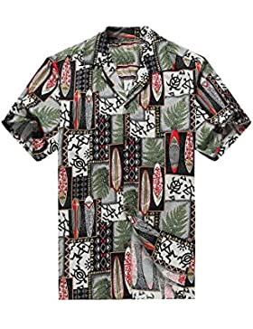 Hecho en Hawai de los hombres Camisa hawaiana Camisa de la hawaiana Edredón Patch Leaf Surfboards Tortuga en Negro